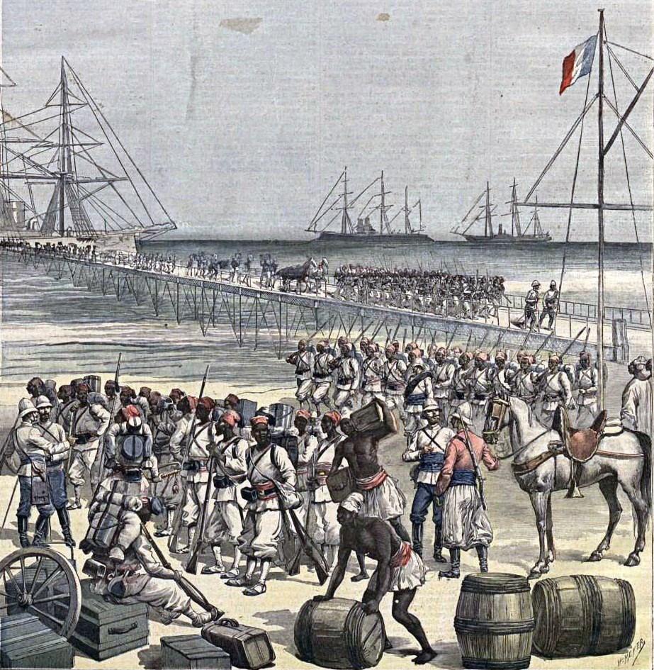 Desembarco_en_Cotonou_de_tropas_senegalesas._Le_Petit_Journal,_21may1892